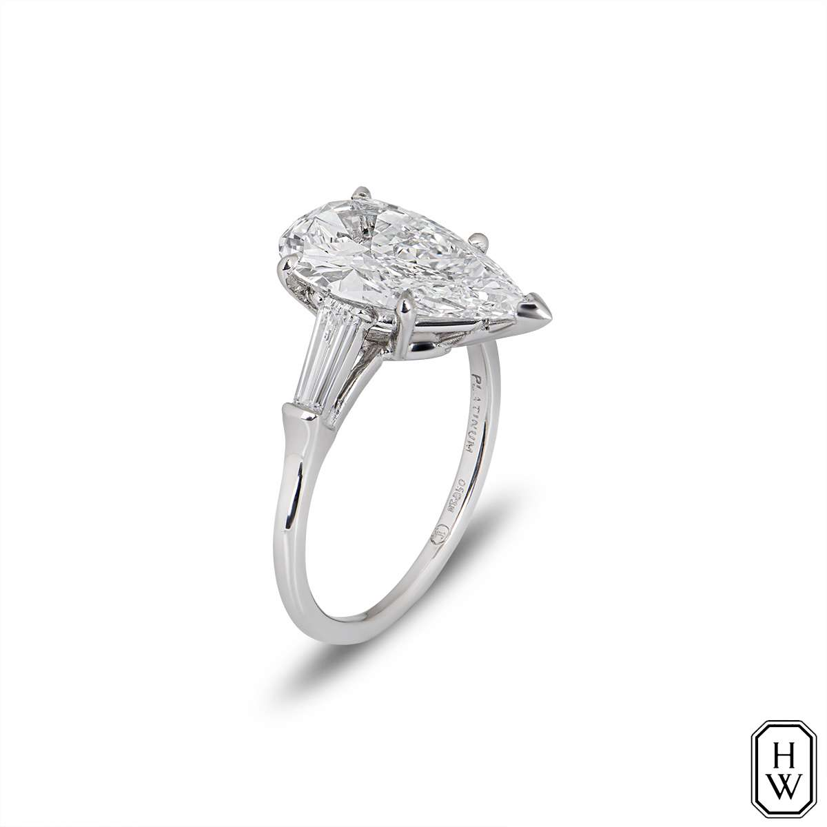 Harry Winston Platinum Pear Cut Diamond Ring 2.67ct E/FL